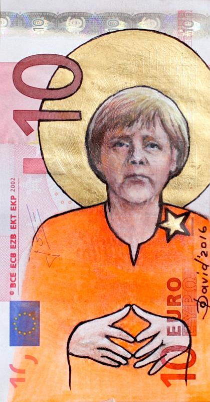Angela Merkel als Motiv auf Euroschein