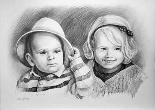 Doppelporträt Kohle auf Papier