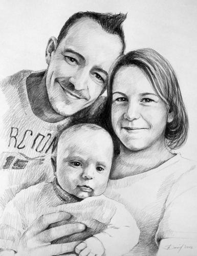 Familienporträt Grafit auf Papier