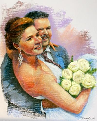Hochzeitsportrait  Pastell auf Papier