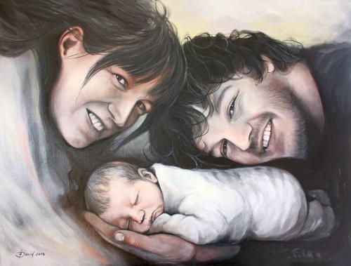 Familienporträt Öl auf Leinwand