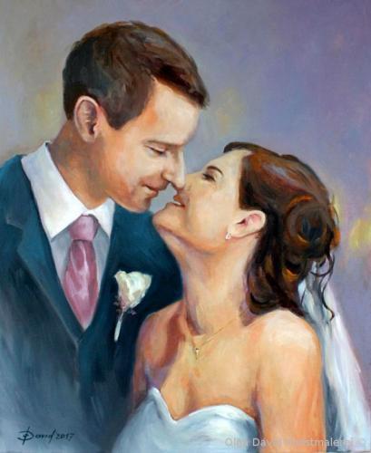 Hochzeitsportrait Acryl auf Leinwand