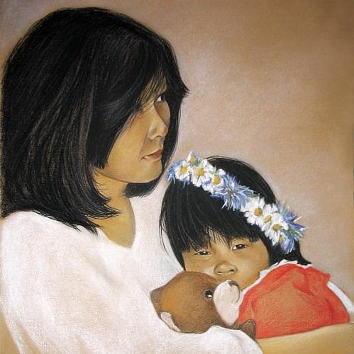 Doppelporträt Pastell auf Papier