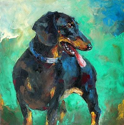 Hundenporträt Öl auf HDF