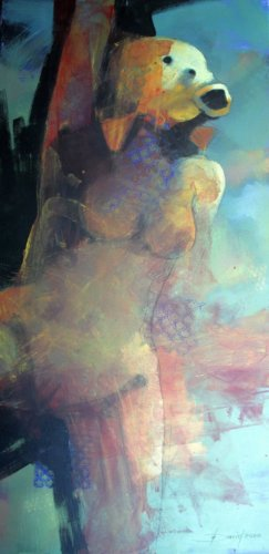Fischfrau, Acryl auf Leinwand, 50x100cm